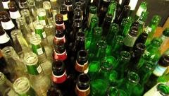 Beer Bottles on their way to recycling Stock Footage