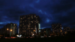 Night Moscow time-lapse with running clouds Stock Footage