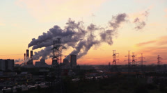 Moscow outskirts industrial landscape at sunrise Stock Footage