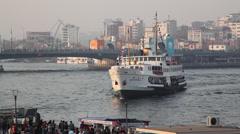 Ship and Galata Bridge - stock footage