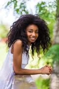 outdoor portrait of a teenage black girl - african people - stock photo