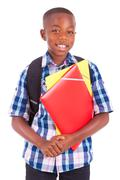 african american school boy, holding folders - black people - stock photo