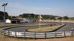 Go Karts on ther track at Dawlish Warren Devon England Stock Footage