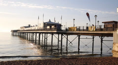 Paignton pier and sandy beach Torbay Devon England Stock Footage