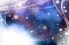 Glittery festive abstract background with stars and rays Stock Illustration