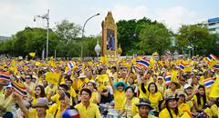 thai people wave flags - stock photo