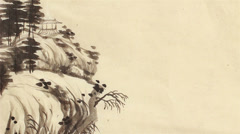 Chinese landscape painting Stock Footage