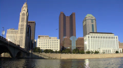 Columbus Ohio Skyline from River 1080/24p - stock footage