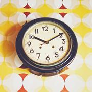 vintage wall clock - stock photo