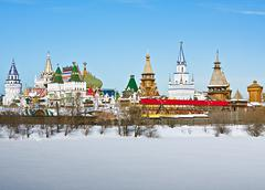 view winter izmailovo kremlin in moscow - stock photo