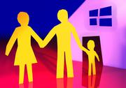 Stock Illustration of paper family with their new home