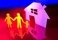 Paper family with their new home Stock Illustration