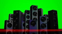 Loudspeakers Green Screen Stock Footage