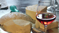 Cheese and wine Stock Footage