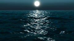 Moon night on a sea, looped Stock Footage