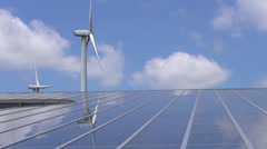 wind mill and solar panel - stock footage