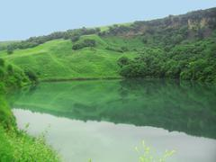 Small lake between the caucasus mountains summertime Stock Photos