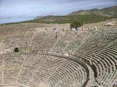 ancient amphitheatre  in hierapolis, pamukkale, turkey - stock photo