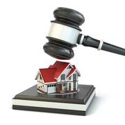 Auction. gavel, sound block and house. Stock Illustration