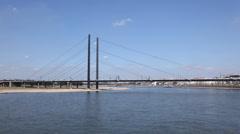 Rhein river in Dusseldorf, Germany.  time lapse - stock footage