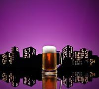 metropolis lager beer - stock illustration