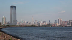 Manhattan view from seaside Stock Footage