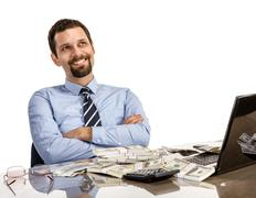Hilarious businessman with arms crossed Stock Photos