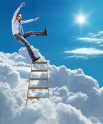 Confident businessman standing at the ladder high in the sky falls from the top Stock Illustration