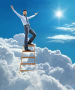 Confident businessman standing at the ladder high in the sky spread his arms - stock illustration