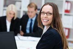 Friendly happy businesswoman Stock Photos