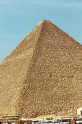 pyramids of cheops in the desert of egypt - stock photo