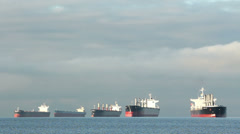 English Bay Freighters Anchored, Vancouver Stock Footage