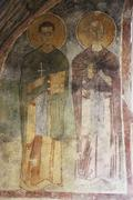 old fresco on the wall of st.nicholas church, demre - stock photo