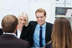 confident young business team - stock photo