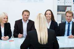 job applicant in an interview - stock photo