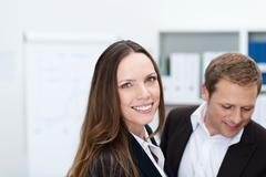 friendly attractive businesswoman - stock photo