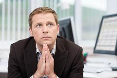 worried pensive businessman - stock photo