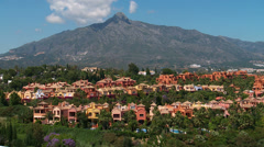 La Concha mountain to Marbella Bay Stock Footage