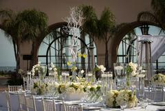 beautifully decorated wedding venue - stock photo