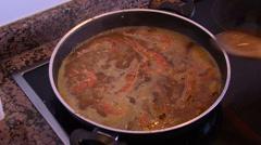 Spanish fish-paella Stock Footage