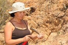 senior geologist woman - stock photo