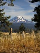 grassland fence countryside mount adams mountain farmland landscape - stock photo