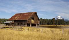 ranch barn countryside mount adams mountain farmland landscape - stock photo