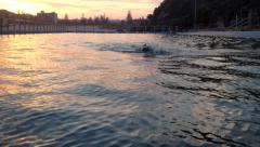 Pool Swimmer At Sunset Stock Footage