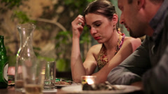 Unhappy, bored couple on bad date in restaurant HD - stock footage