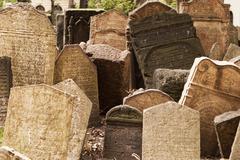 headstones in jewish graveyard - stock photo