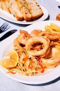 fresh fried calamari - stock photo