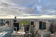 Upper Manhattan and Central Park high view, New York, USA - stock photo