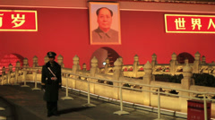 Guard guarding the entrence of the forbidden city,Tiananmen Stock Footage