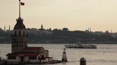 Maiden's Tower and Historical Peninsula - stock footage